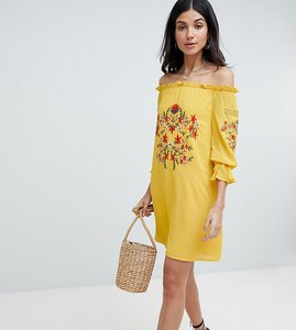 Read more about Parisian tall off shoulder embroidered dress - yellow