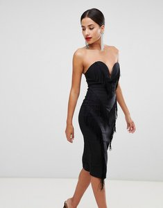 Read more about Rare london fringe sweetheart pencil dress - black