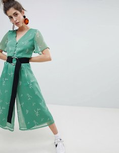Read more about Neon rose tea jumpsuit in romantic floral - green wildflower