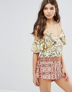 Read more about Somedays lovin sounds of heart cold shoulder printed festival playsuit - multi