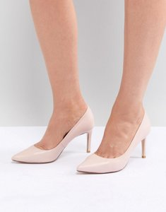 Read more about Dune pointed toe mid heel court shoe - blush leather