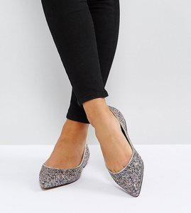 Read more about Asos latch wide fit pointed ballet flats - glitter