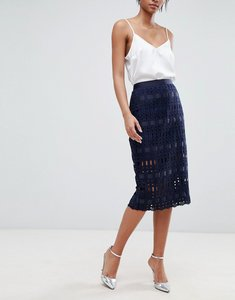 Read more about Ted baker lace grosgrain pencil skirt - navy