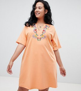 Read more about Asos curve oversized t-shirt dress with embroidery - orange