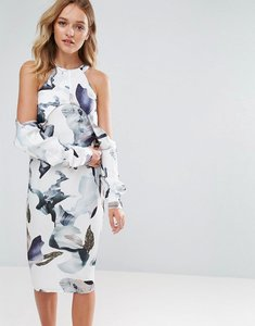 Read more about Neon rose elemental cold shoulder printed midi dress - multi