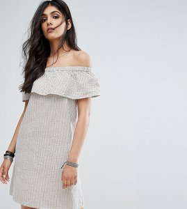 Read more about Noisy may tall off shoulder striped mini dress - multi