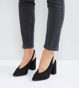 Read more about New look wide fit pointed sling back heeled shoe - black