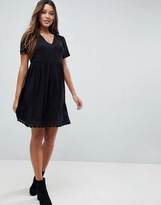 Read more about Asos v neck smock dress with lace hem - black