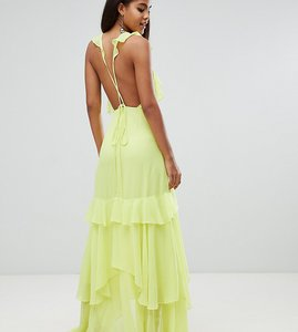 Read more about Asos design tall ruffle maxi dress with strappy back - yellow