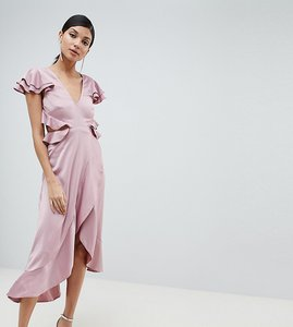 Read more about Asos design tall ruffle midi dress in rippled satin with cut out back - blush