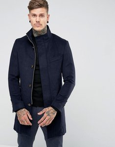 Read more about Harry brown wool blend navy funnel neck overcoat - navy