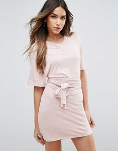 Read more about Asos mini dress with self tie belt - nude