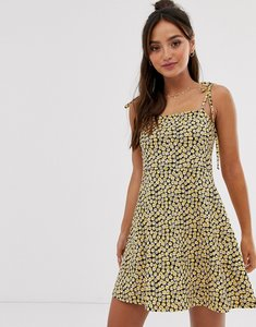 Read more about Asos design mini square neck dress with tie straps in ditsy print