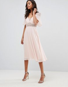 Read more about Asos lace insert flutter sleeve midi dress - nude