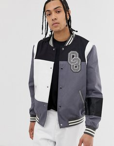 Read more about Asos design varsity bomber jacket in colour block grey - grey