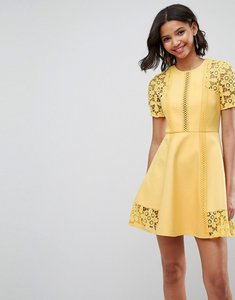 Read more about Asos premium lace insert mini dress - yellow