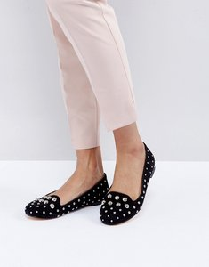 Read more about Office floodlight studded suede flat shoes - black