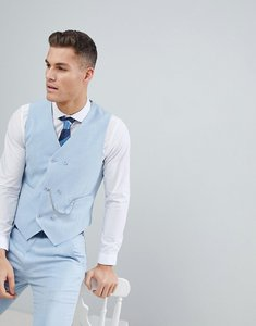 Read more about Asos wedding skinny suit waistcoat in soft blue cross hatch with printed lining - light blue