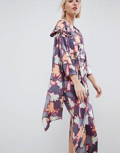 Read more about Asos white printed silk twist tie dress - multi