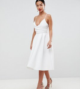 Read more about Asos design petite scuba cami prom midi dress - ivory