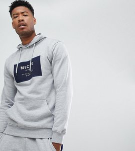 Read more about Nicce hoodie in grey with box logo exclusive to asos - grey