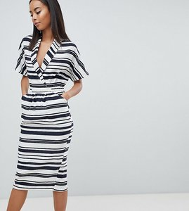 Read more about Asos design tall stripe midi dress with pockets - multi