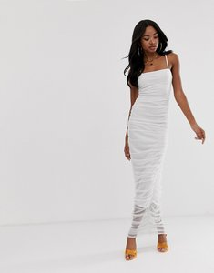 Read more about Prettylittlething maxi bodycon dress with ruched detail in white mesh