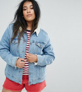 Read more about Levis plus trucker jacket with borg collar - light blue