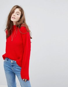 Read more about Pieces ribbed jumper with high neck - red