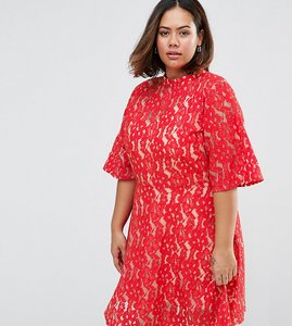 Read more about Asos curve premium kimono sleeve mini skater dress in lace - red