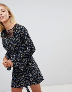 Read more about Rage floral lace insert dress - black blue floral