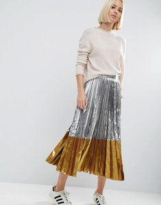 Read more about Asos pleated midi skirt in metallic with contrast hem - silver
