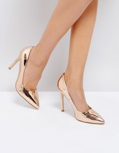 Read more about Truffle collection metallic point high heels - high shine rose gold