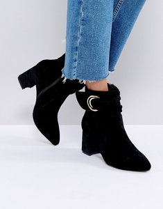bf808d519 Read more about Glamorus black velvet d-ring heeled ankle boots - black