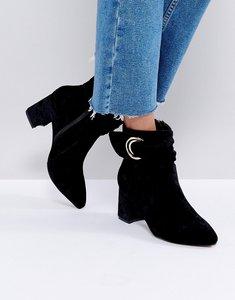 Read more about Glamorus black velvet d-ring heeled ankle boots - black