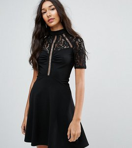 Read more about Asos tall high neck skater dress with lace panel - black