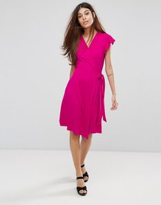 Read more about Warehouse short sleeve wrap front dress - pink