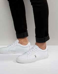 Read more about Polo ralph lauren hugh leather trainers - white