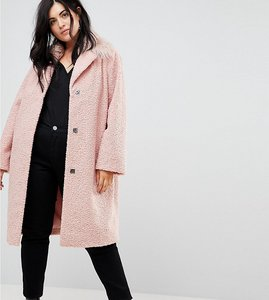 Read more about Lost ink plus cocoon coat with faux mongolian collar - dusty pink