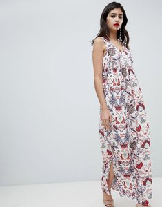 Read more about Soaked in luxury floral v neck maxi dress - vintage floral