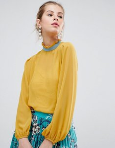 Read more about Traffic people high neck blouse with contrast piping - mustard