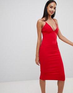 Read more about Missguided scuba diamante plunge midi dress - red