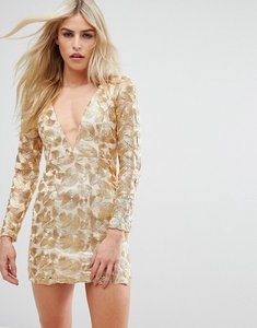 Read more about Love triangle v neck mini dress in all over metallic lace - gold