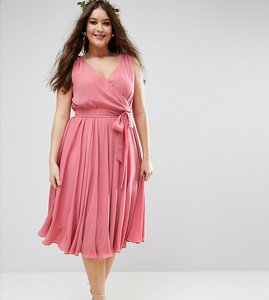 Read more about Asos curve wedding bow front midi dress - nude