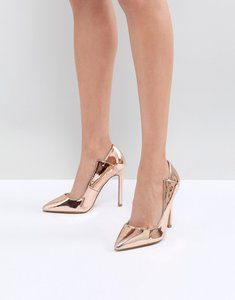 Read more about Lost ink rose gold paris cut out court shoes - rose gold