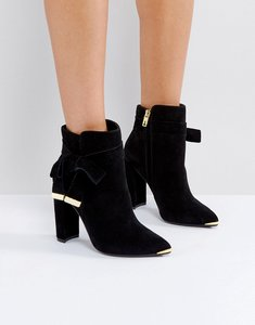 Read more about Ted baker sailly tie up black suede heeled ankle boots - black suede