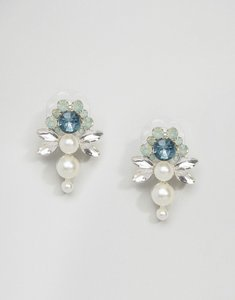 Read more about Johnny loves rosie mint flower pearl statement earrings - green pearl