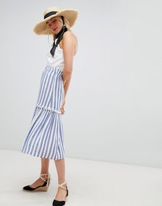 Read more about Warehouse midi skirt in stripe - blue