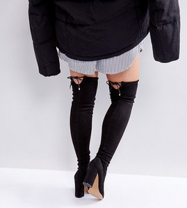 Read more about Asos karma wide fit pointy over the knee boots - black