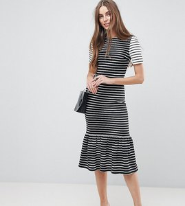 Read more about Asos tall midi dress with pep hem in mono stripes - multi